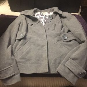 Short gray pea jacket